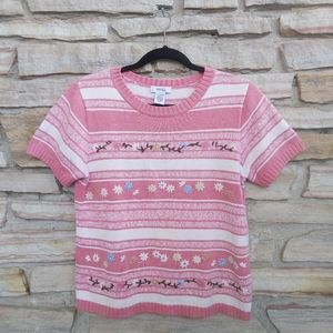 Vintage Northern Knit Embroidered Flower Top Tee